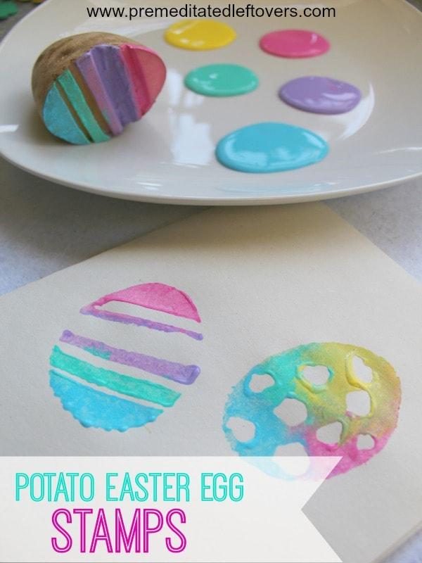 Handmade Potato Easter Egg Stamps for Kids