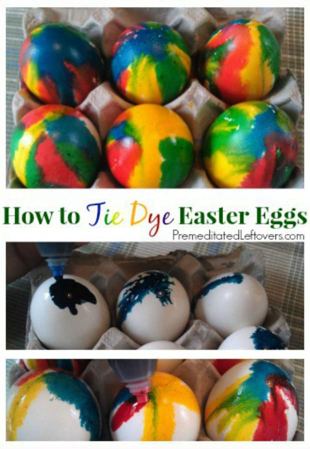 How to tie-dye Easter eggs using food coloring and vinegar.