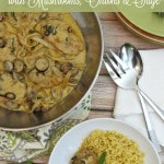 Pork Cutlets with Mushrooms, Onions, and Sage- This frugal recipe pairs pork cutlets with flavorful ingredients in a creamy sauce. Enjoy over pasta or rice.