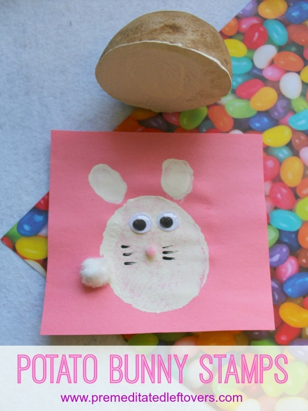 Handmade Bunny Stamps for Kids- Grab a potato and create these easy bunny stamps. Kids will love this fun yet simple craft for spring and Easter.