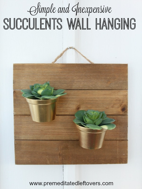 DIY Succulents Wall Hanging- This hanging planter is a low maintenance way to display succulents. You'll love how easy and inexpensive it is to make!