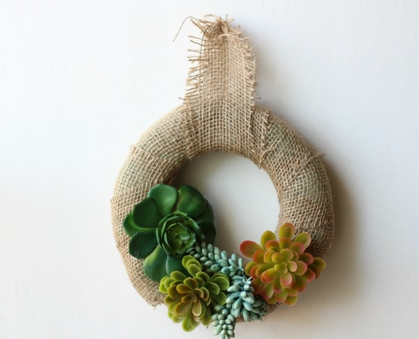 Frugal Dollar Tree Craft: Spring Succulent Wreath final