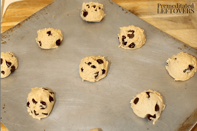 gluten-free dairy-free chocolate chip cookie dough on cookie sheet