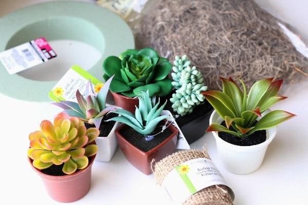 Frugal Dollar Tree Craft: Spring Succulent Wreath supplies