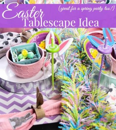 Pastel Easter Tablescape- Pastel dinnerware and spring knick-knacks create this festive table design. It's such a fun way to decorate for your Easter meal!