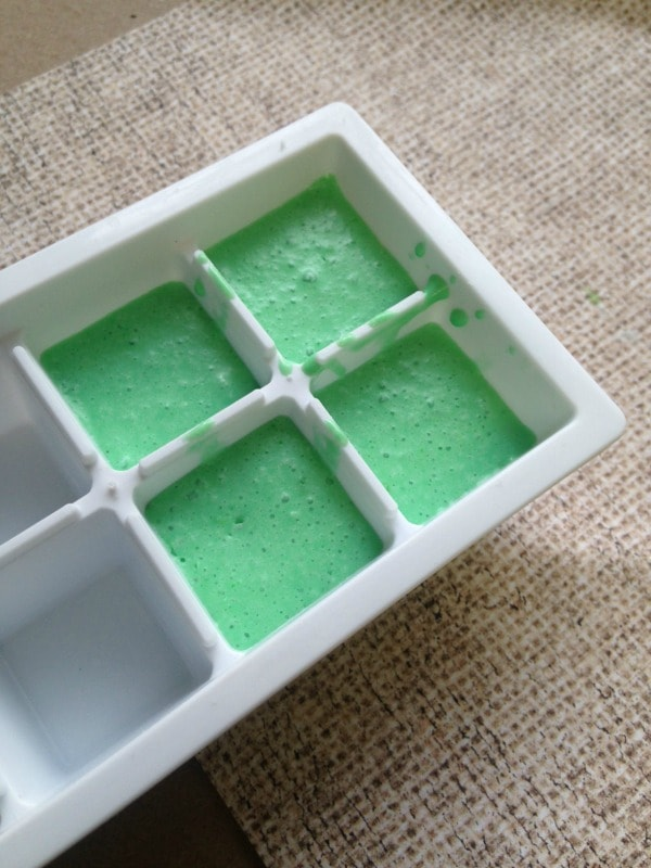 Homemade Peppermint Bath Bombs pouring in mold