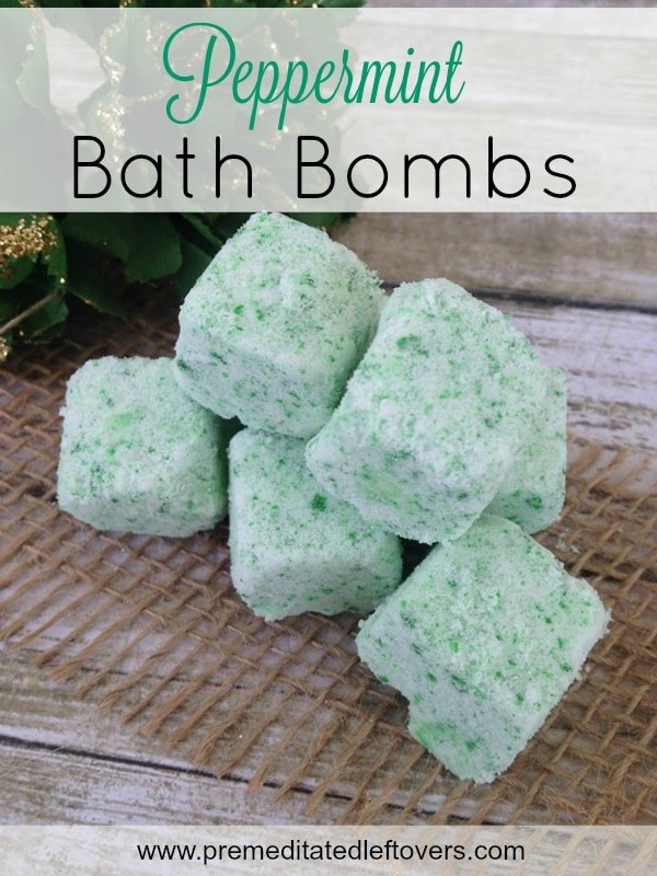 Homemade Peppermint Bath Bombs- Add these DIY bath bombs to your tub for an aromatic and relaxing soak. It's quite easy and inexpensive to whip up a batch!