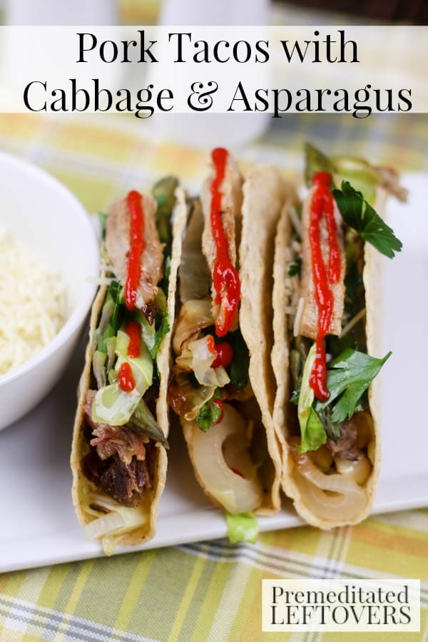 Pork Tacos with Cabbage and Asparagus- Jazz up Taco Tuesday with these pork tacos with veggies. This recipe is also a delicious way to use leftover pork.
