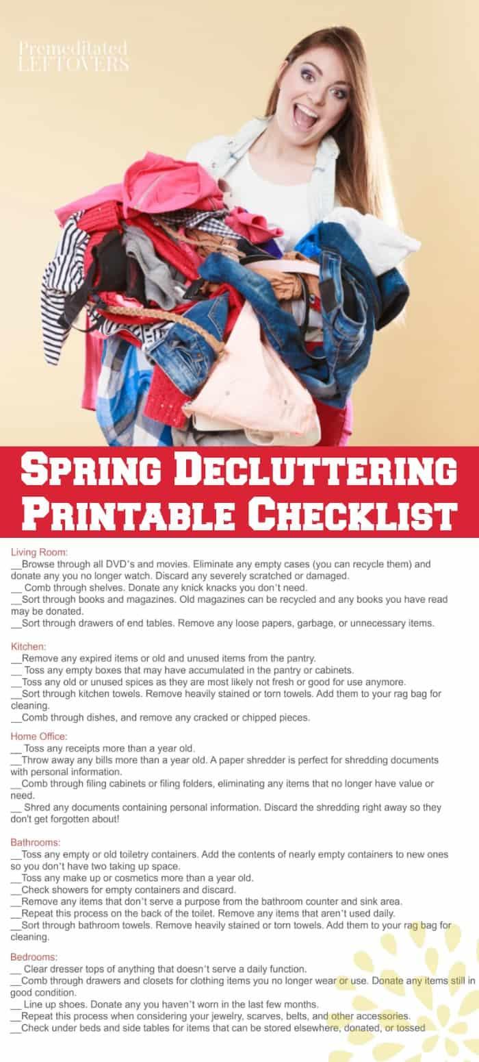 Printable Spring Decluttering checklist