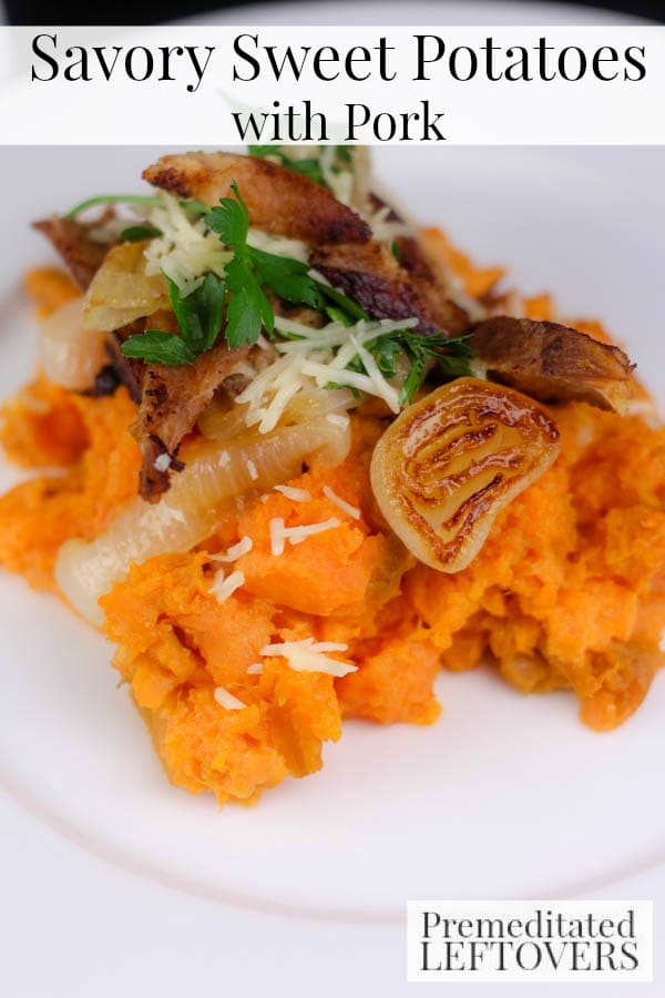 Savory Sweet Potatoes with Pork- Here is a delicious way to use leftover pork roast. Pair it with sweet potatoes and onion to make this quick and easy meal.