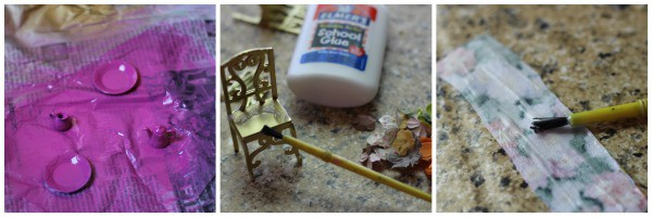 Tea Party Fairy Garden painting and glue
