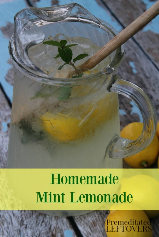 Homemade Mint Lemonade- Nothing beats the heat like a cold glass of lemonade. This refreshing recipe pairs tart lemons with the cooling flavor of mint.