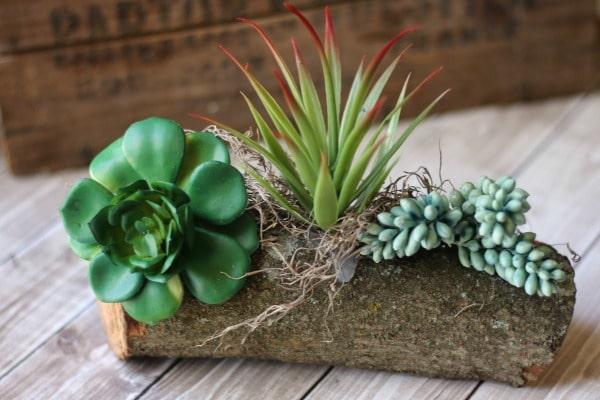 Rustic Faux Succulent Planter
