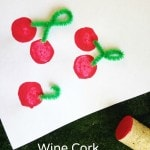 Wine Cork Cherry Stamp Craft for Kids- These cherry stamps are quick and easy to make out of wine corks. Kids will love using them to paint and craft!