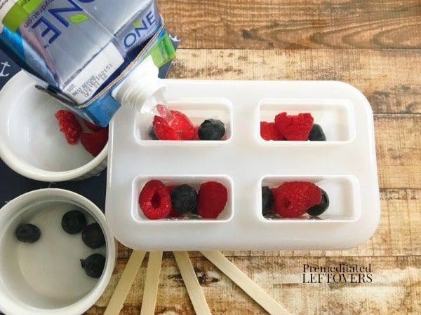 Fresh Raspberry and Blueberry Popsicles Recipe made with Coconut Water