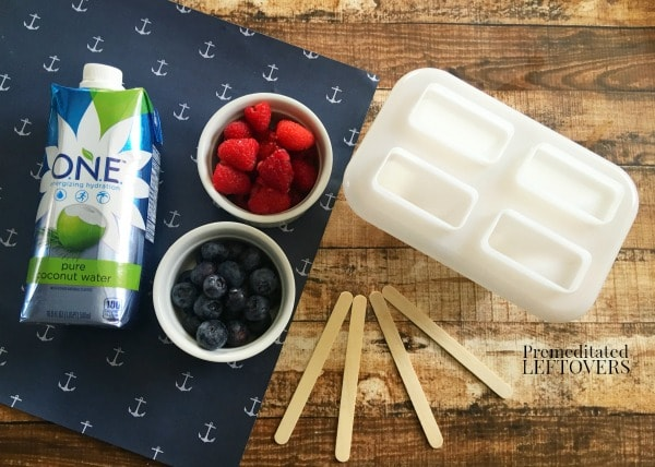 Ingredients for Mixed Berry Popsicles using fresh raspberries and blueberries