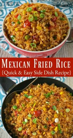Mexican Fried Rice Recipe - a quick and easy leftover rice recipe
