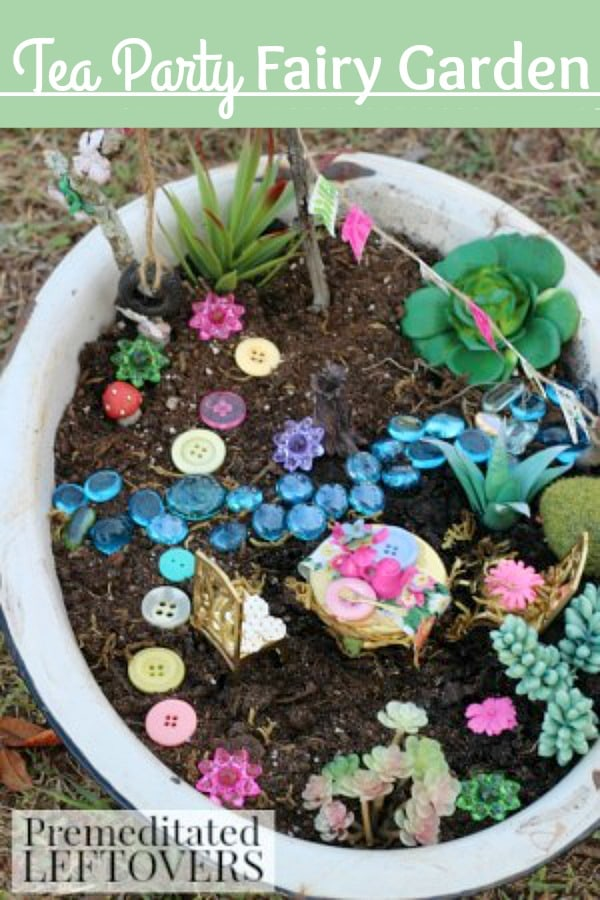 Tea Party Fairy Garden- Relive all the wonder and magic of fairies with this tea party themed fairy garden. This frugal project is fun for kids or adults!