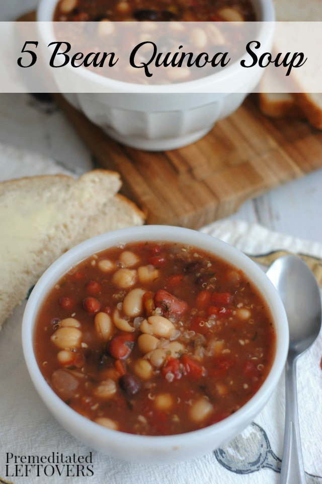 5 Bean Quinoa Soup- This frugal soup recipe is loaded with flavorful spices and healthy protein sources such as quinoa and beans.
