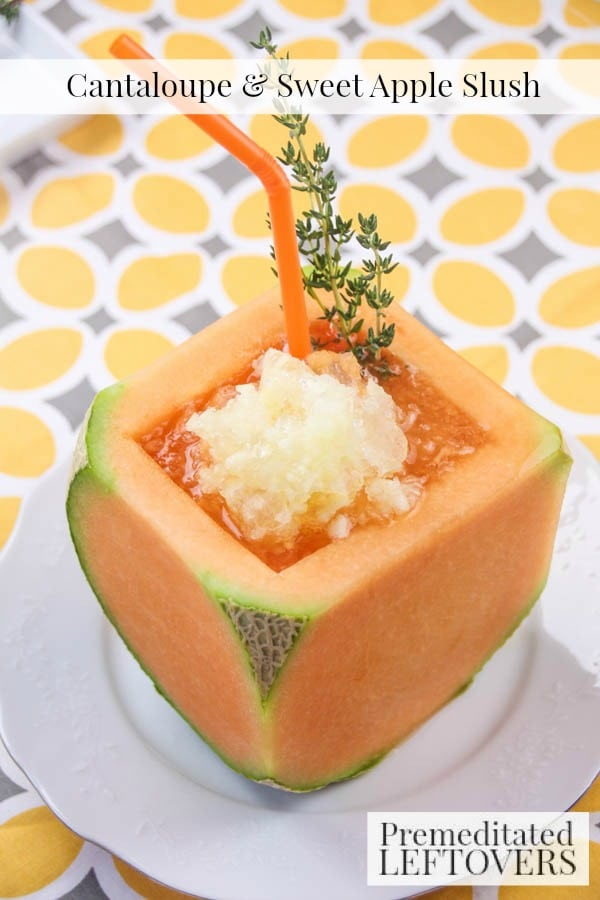 Cantaloupe and Sweet Apple Slush- This cantaloup and apple frozen drink recipe is fast, easy, and refreshing. It's also a fun way to beat the summer heat!