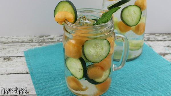 Cantaloupe and Cucumber Fruit Infused Water- Infusing fruit is a natural and easy way to flavor your water. This recipe uses fresh cantaloupe and cucumber.