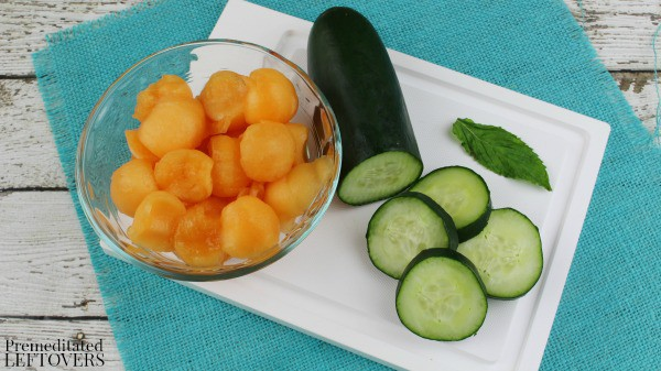 Cantaloupe and Cucumber Fruit Infused Water- ingredients