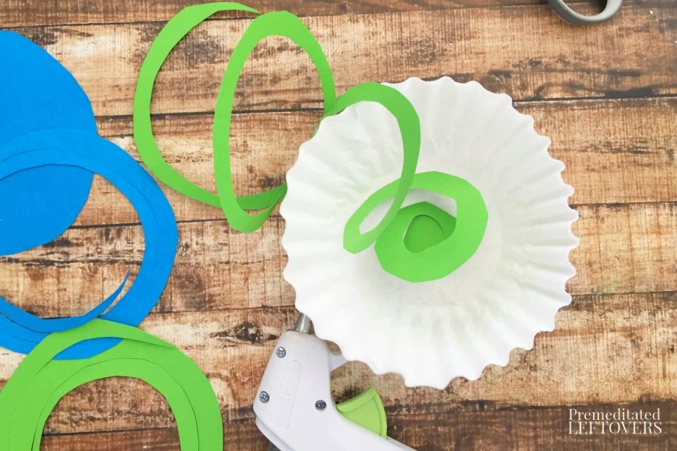 Coffee Filter Jellyfish Craft - hot glue paper swirls to coffee filters