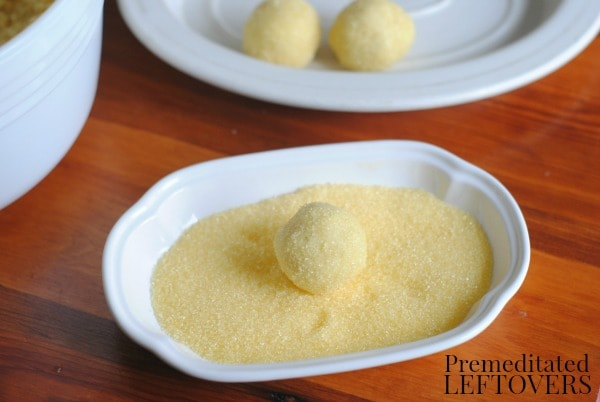 Easy Truffle Recipe- rolling easy dough in sprinkles