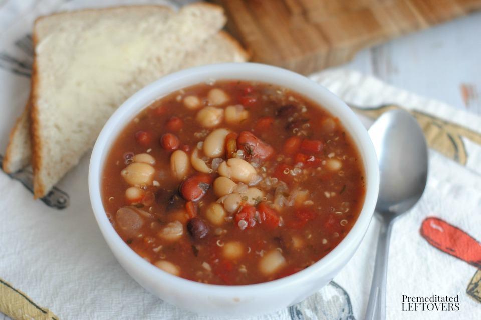 5 Bean Soup with Quinoa- bowl of soup