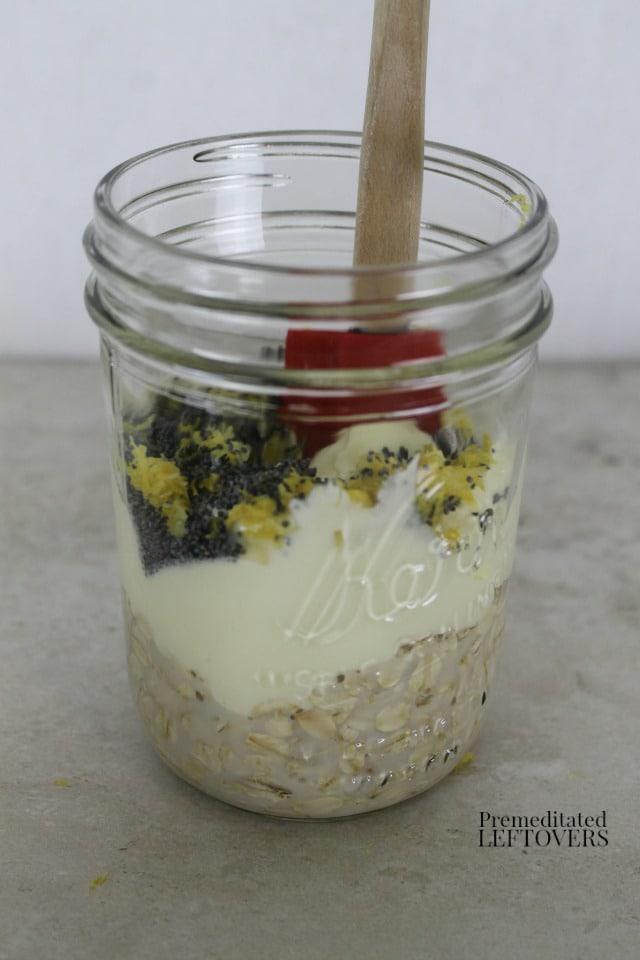 Lemon Poppy Seed Overnight Oatmeal - add lemon zest and poppy seeds