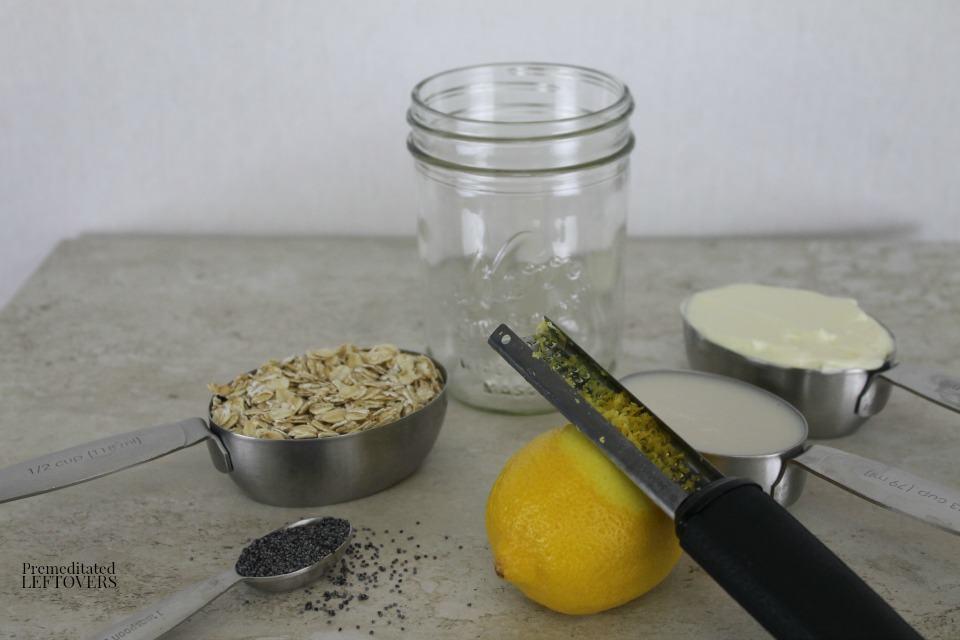 Lemon Poppy Seed Overnight Oatmeal - ingredients
