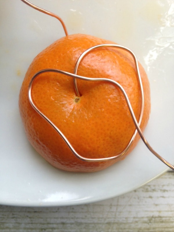 How to Make an Oriole Bird Feeder- support orange with wire