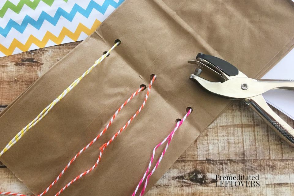 How to Make a Paper Bag Book for Kids - tie bags together with twine