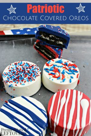 Patriotic White Chocolate Covered Oreos- Red, white, and blue chocolate give these Oreos a patriotic touch. Serve them for Memorial Day or the 4th of July!