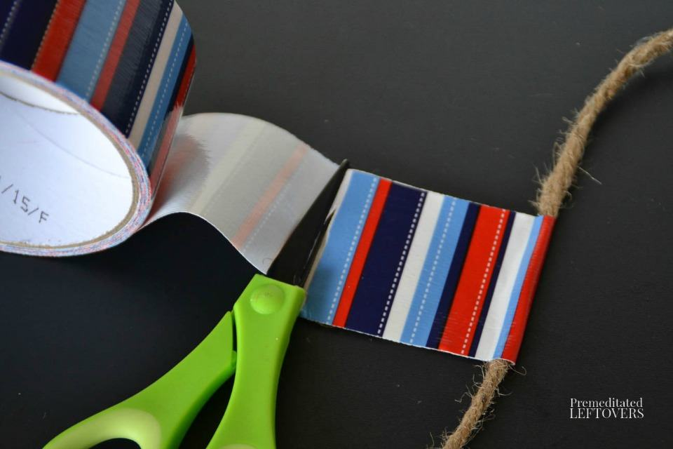 Patriotic Duct Tape Banner - Cutting duct tape pieces