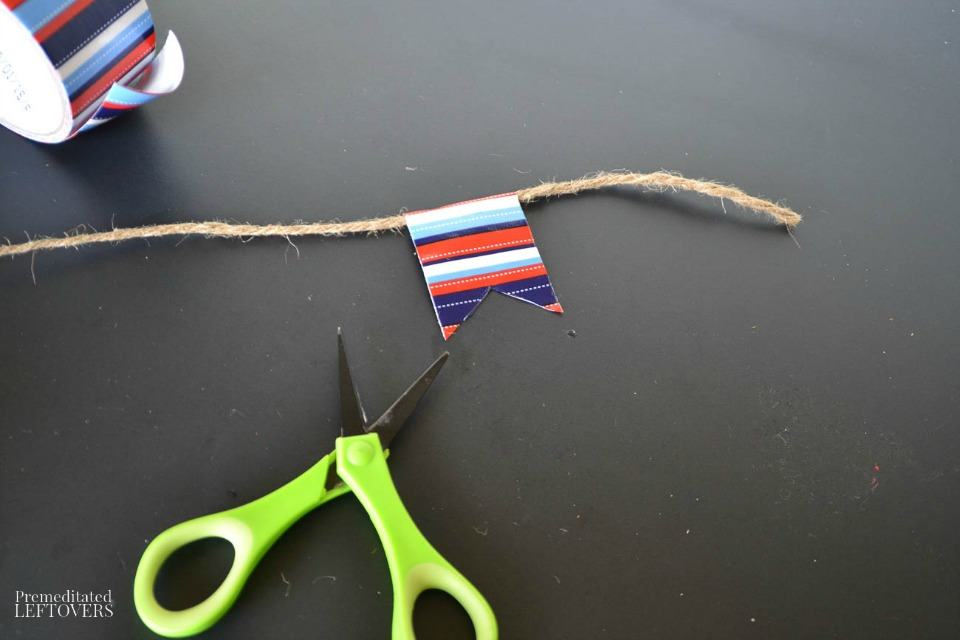 Patriotic Duct Tape Banner - Cutting duct tape shapes