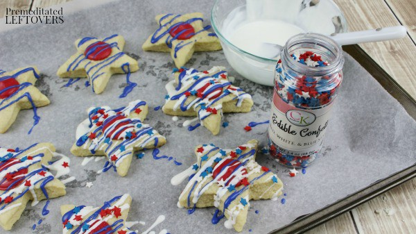 Patriotic Star Homemade Sugar Cookies- decorating with chocolate and sprinkles