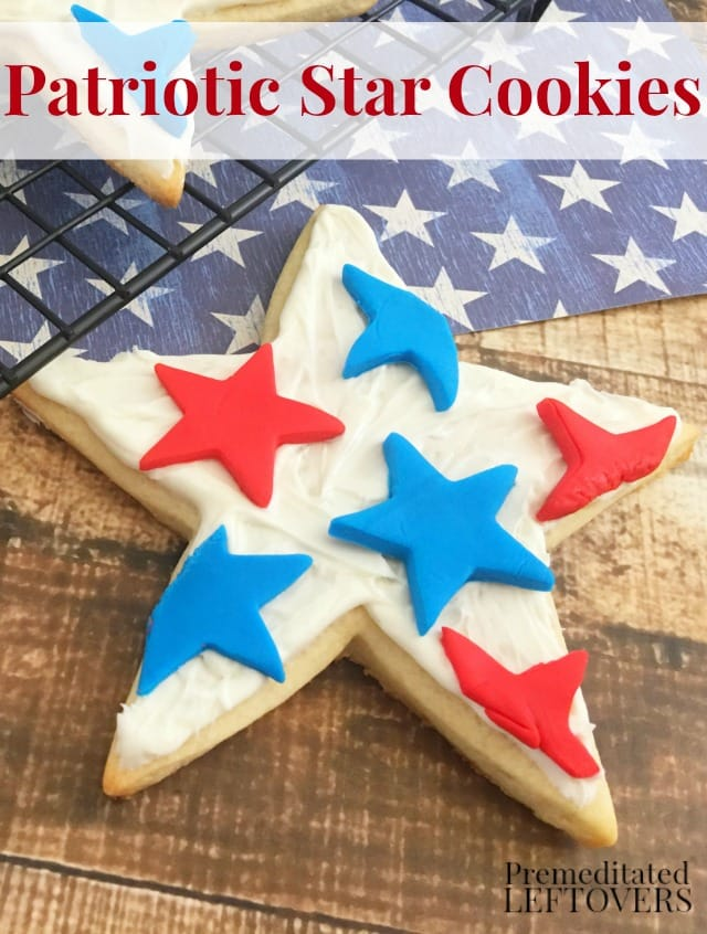 Patriotic Star Cookies- Here's a festive dessert recipe for July 4th! These sugar cookies are decorated in red, white, and blue buttercream and fondant.