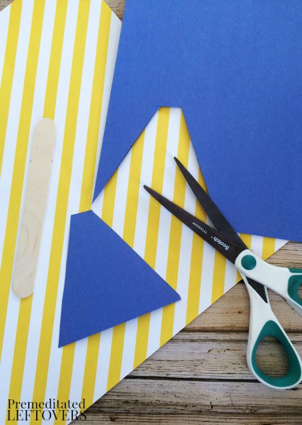 Superhero Stick Craft for Kids cutting cape