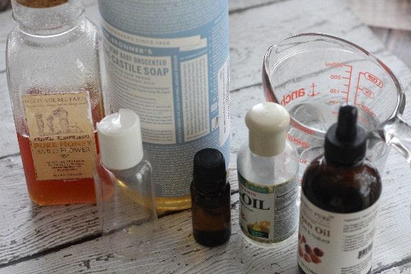 Homemade Honey Lavender Face Wash ingredients