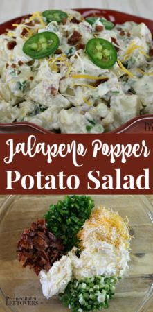 jalapeno popper potato salad recipe with bacon, jalapenos, and cream cheese