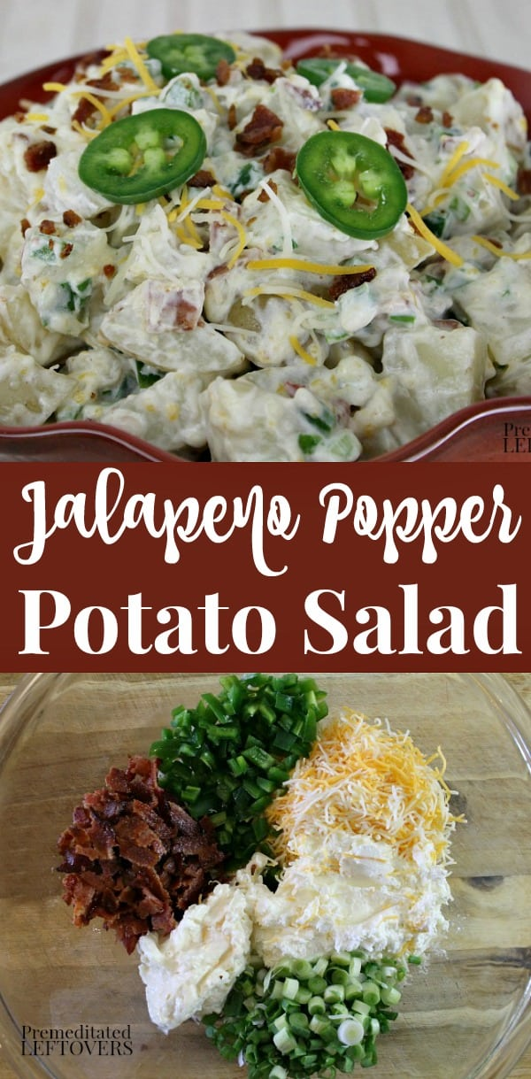 jalapeno popper potato salad recipe with bacon, jalapenos, and cream cheese