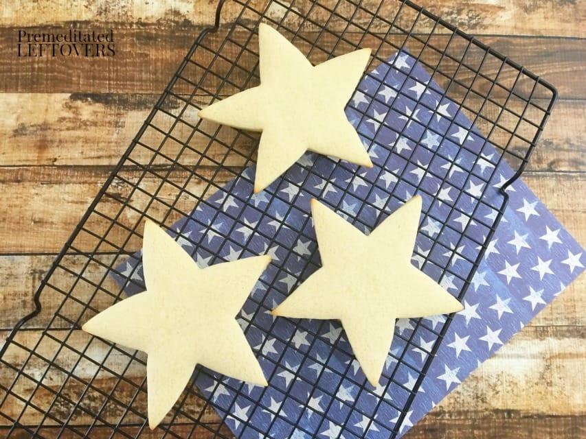 Patriotic Star Cookies - star cookies cooling