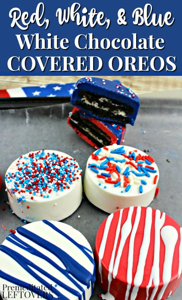 Red, white, and blue, chocolate covered Oreos are topped with melted chocolate and sprinkles.