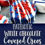 red, white, and blue patriotic white chocolate covered oreo cookies topped with sprinkles