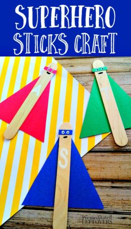 superhero sticks made with popsicle sticks and construction paper