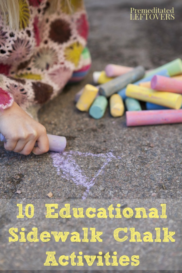 10 Educational Sidewalk Chalk Activities- Your kids will have fun learning outside with these sidewalk chalk activities. They are perfect for summer break!