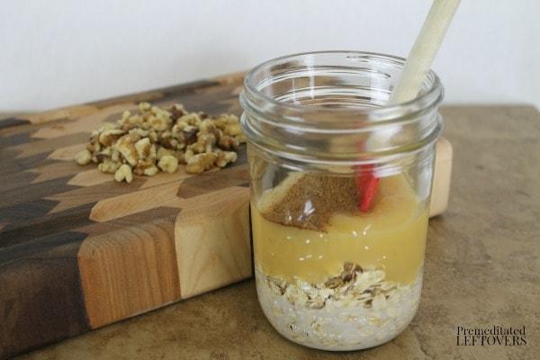 Apple Pie Overnight Oatmeal - add almond milk, applesauce and spices.