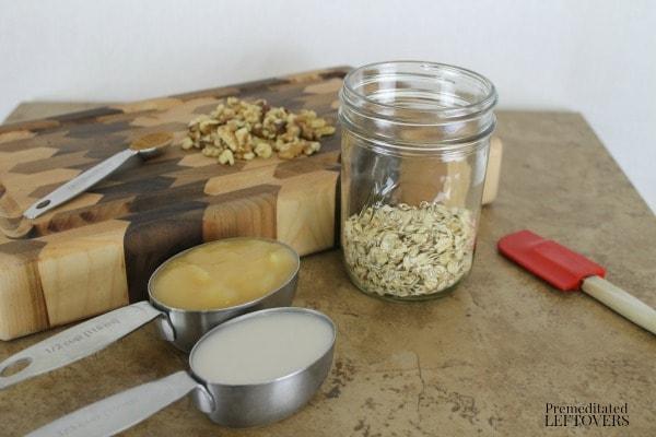 Apple Pie Overnight Oatmeal - add oatmeal to mason jar