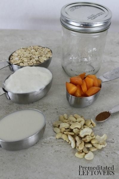 Apricot Vanilla Cashew Refrigerator Oatmeal - ingredients